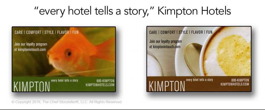 kimpton hotels message, every hotel tells a story, on all branding materials
