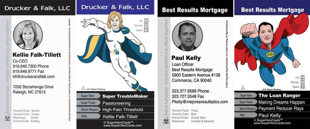 superhero business cards, two examples, front and back