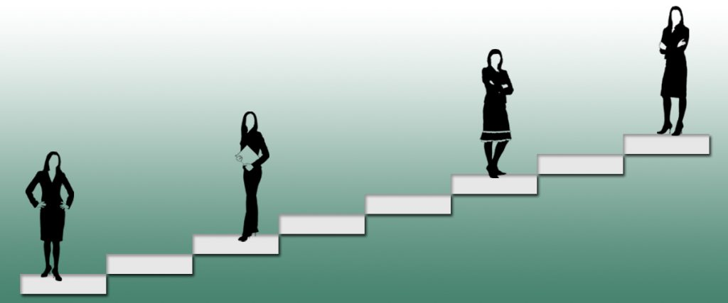 left to right, steadily climbing boxes to show progression of experience and responsibility, four silhoutte black and white executive women are on top of four boxes, starting at the first and skipping every two