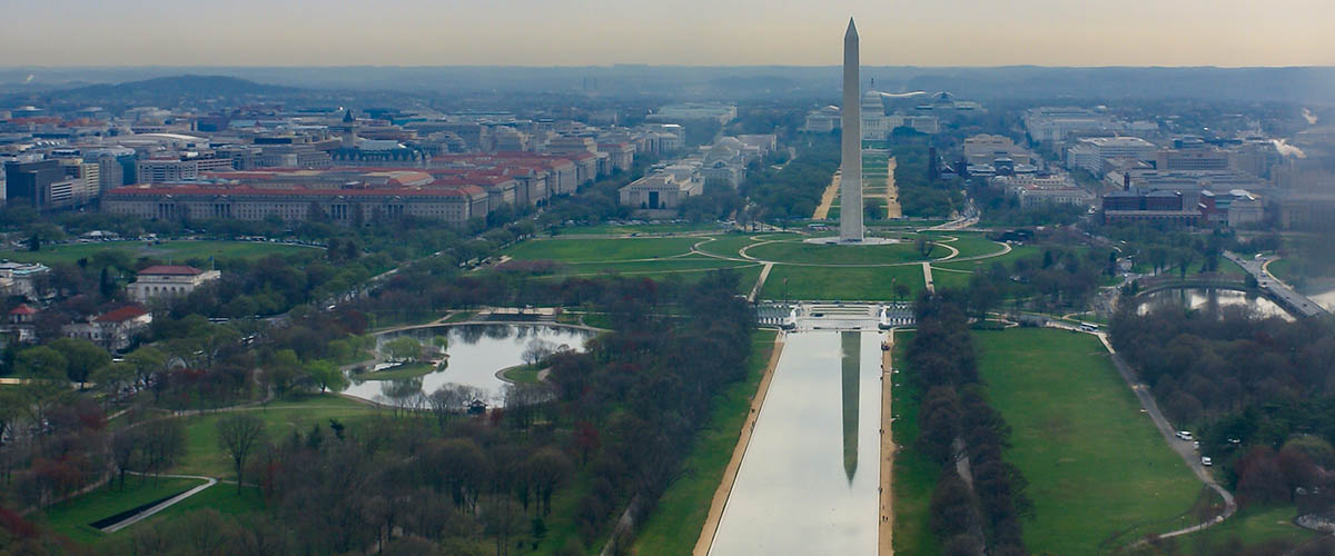 washington monument with reflecting pool, washington, dc to represent being a columnist for the WBJ