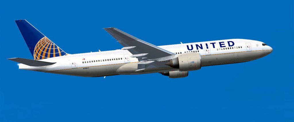 united airlines 777 was the plane I took oversease
