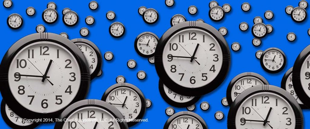 over 50 clocks, from large scale to tiny, covering this picture, blue background, time management, what can you do in a minute?