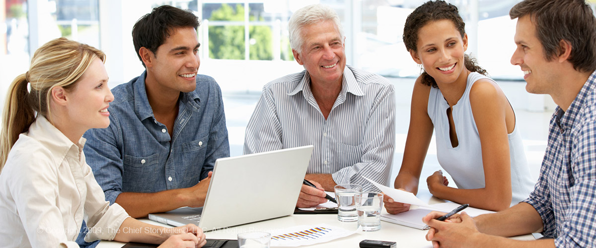 group of executives, men and women, mixed, sales meeting, small talk, building rapport