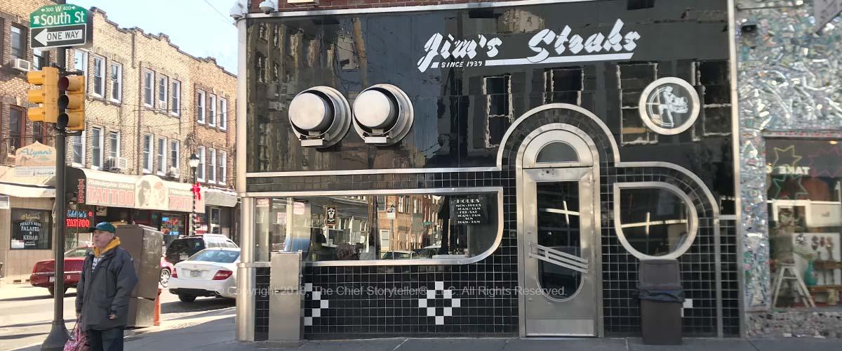 front entrance of Jim's Steaks in Philadelphia on South Street