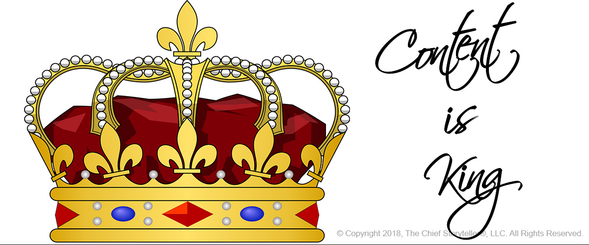 colorfully drawn image of a crown with adjacent text of content is king