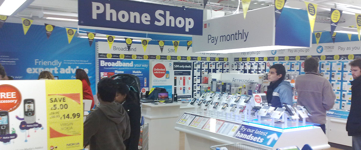 inside of a mobile telephone retail store