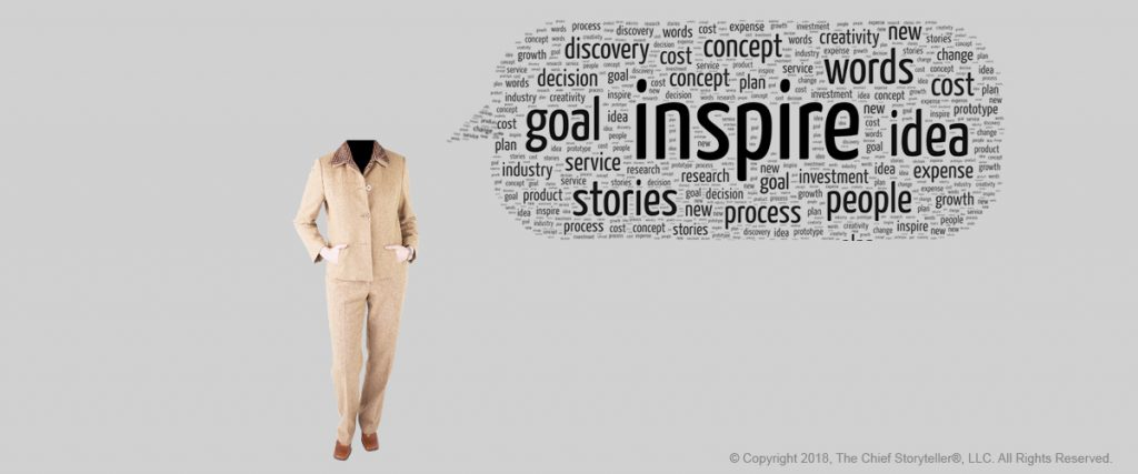 word cloud - message cloud with inspire at the center, black text on gray background, executive with arms in front in pockets, female,