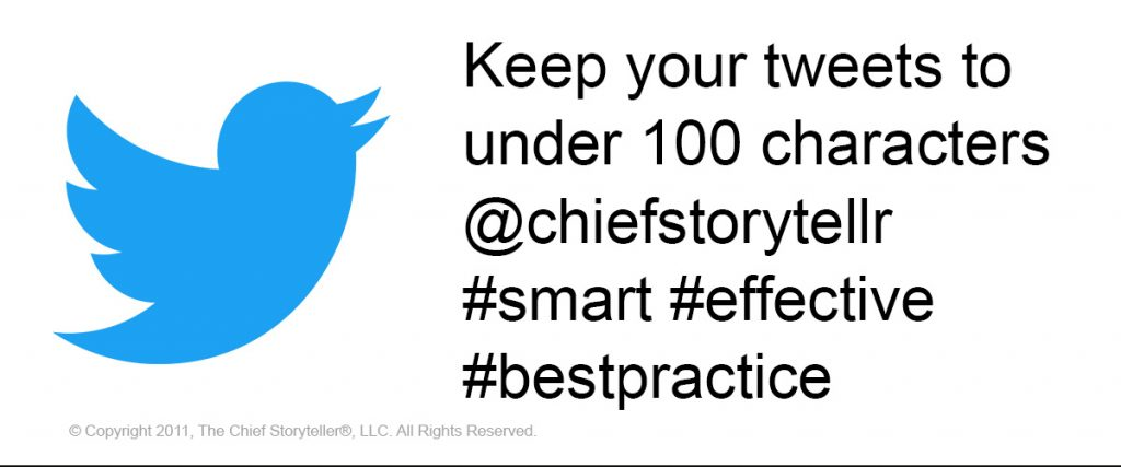 the chief storyteller tip of the week on our blog with twitter bird icon and sample tweet with hashtags