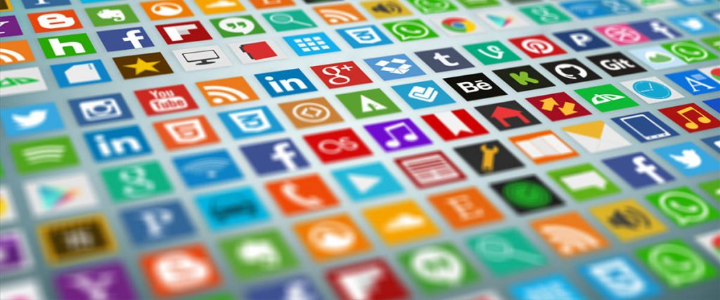 social media influences your stakeholders-prospects, customers, members, subscribers, everyone - tons of social media icons in row by row, column by column