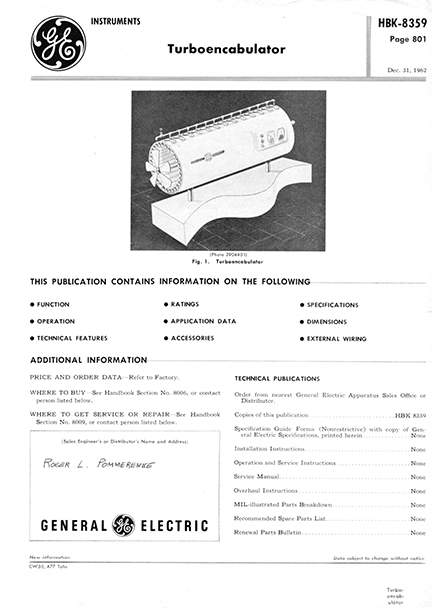 turbo encabulator product data sheet produced by engineers at General Electric - full page