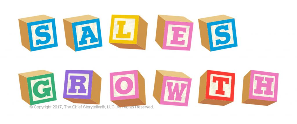 sales growth spelled out in child's wooden blocks