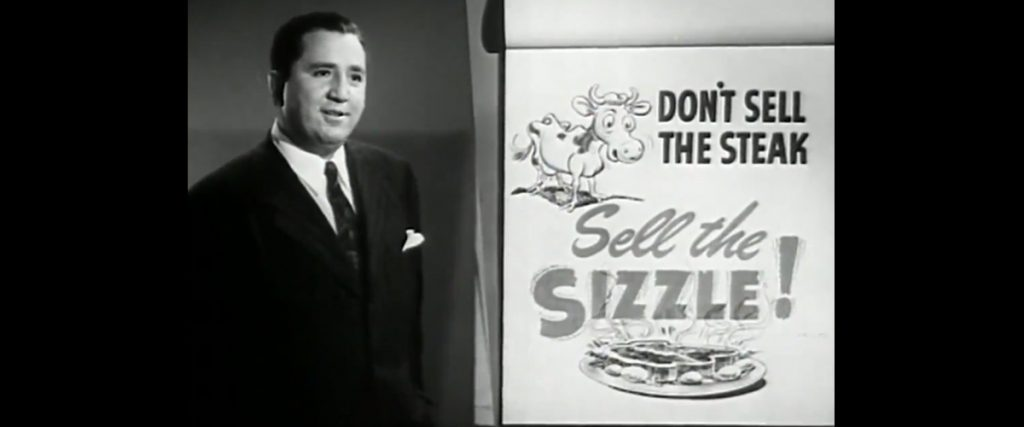 "screen capture from the 1947 movie, ""Man to Man,"" which was a video produced to teach people better sales techniques"