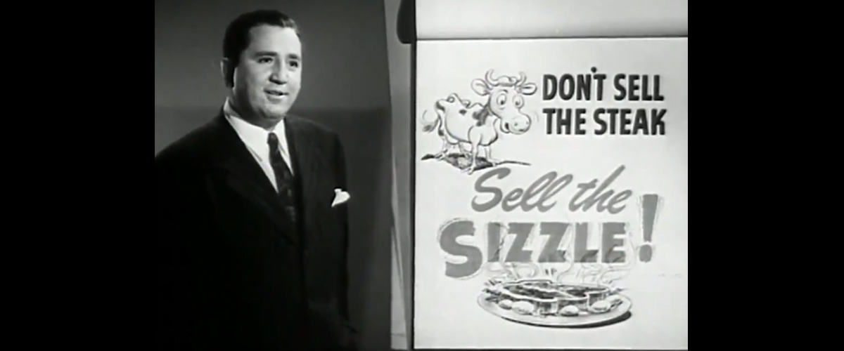 """screen capture from the 1947 movie, """"Man to Man,"""" which was a video produced to teach people better sales techniques"""