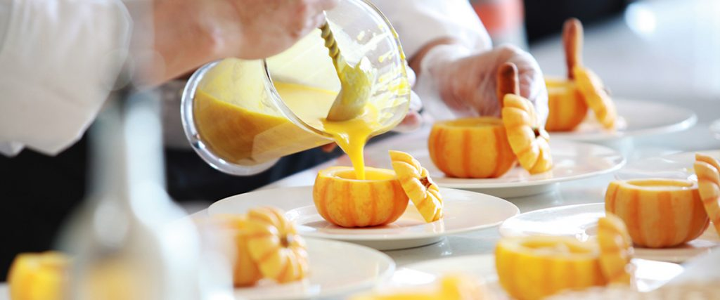 we eat with our eyes - master chefs prepare pumpkin soup