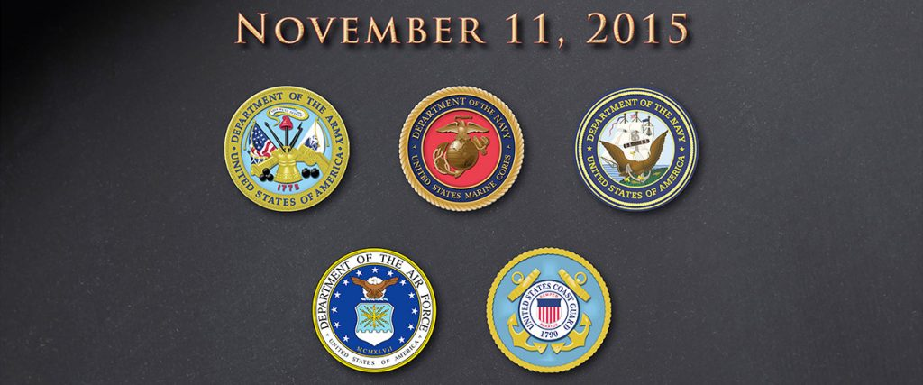 happy veterans day 2015 with the logos of the five branches