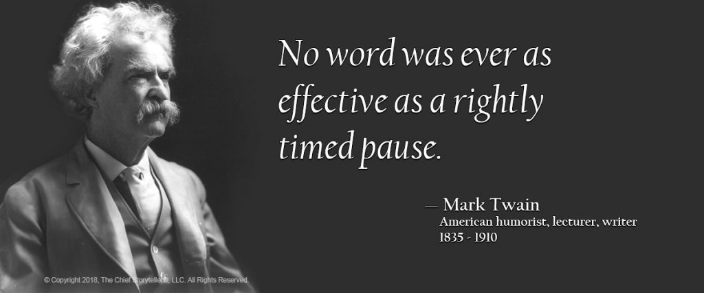 mark twain quote about the effectiveness of the pause