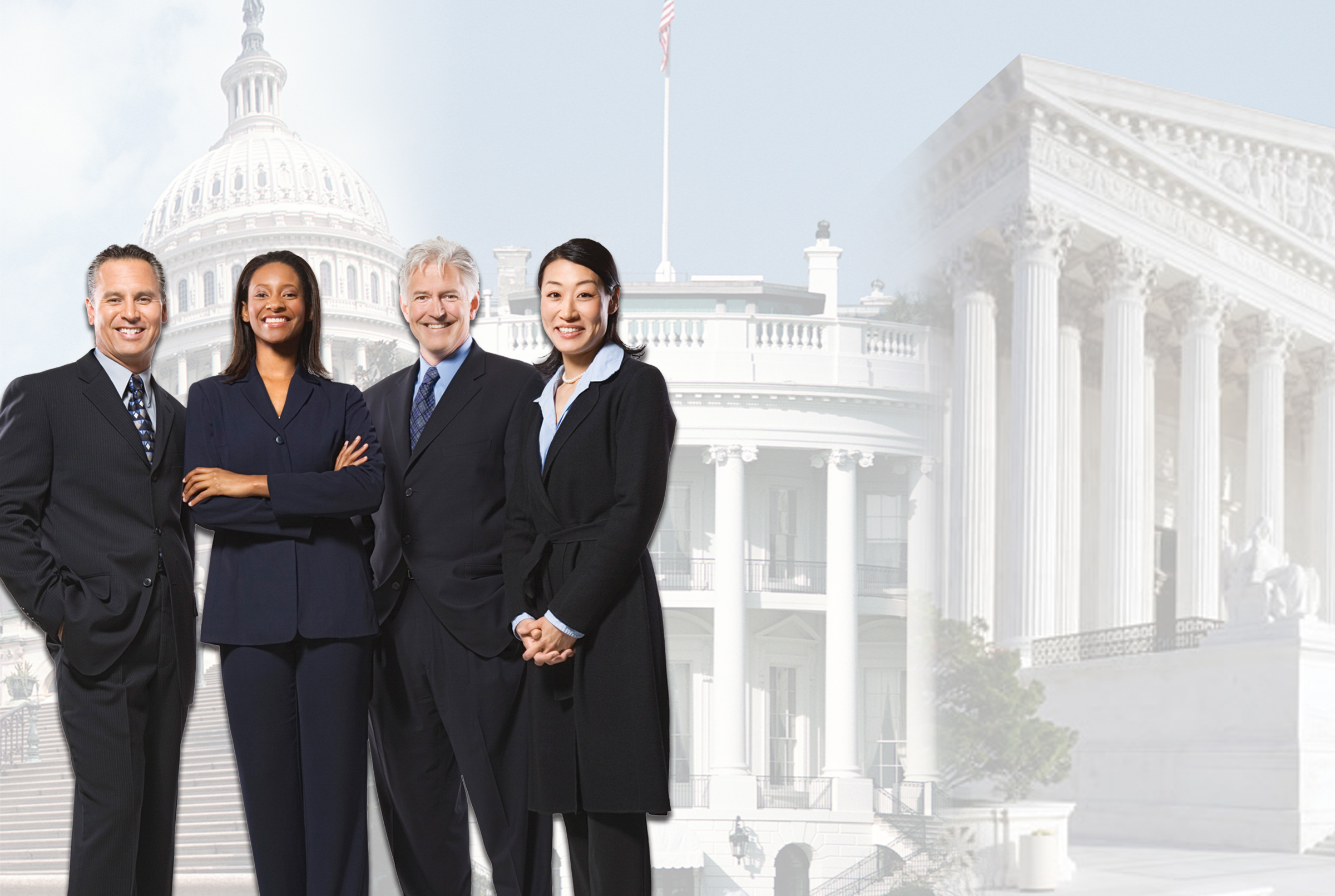 success story - four executives, smiling, confident, mixed genders, ages, and backgrounds, superimposed over a montage of the capitol, white house, and supreme court