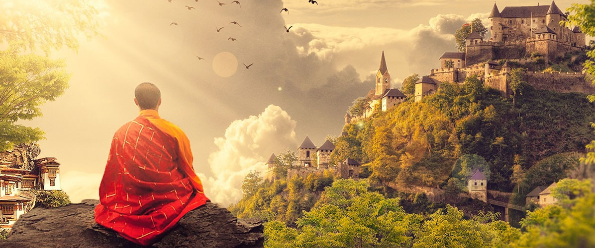 monk contemplating life with a large monastery in the distance, expansive and gorgeous scenery, demonstrating the importance of listening and keeping your tea cup empty