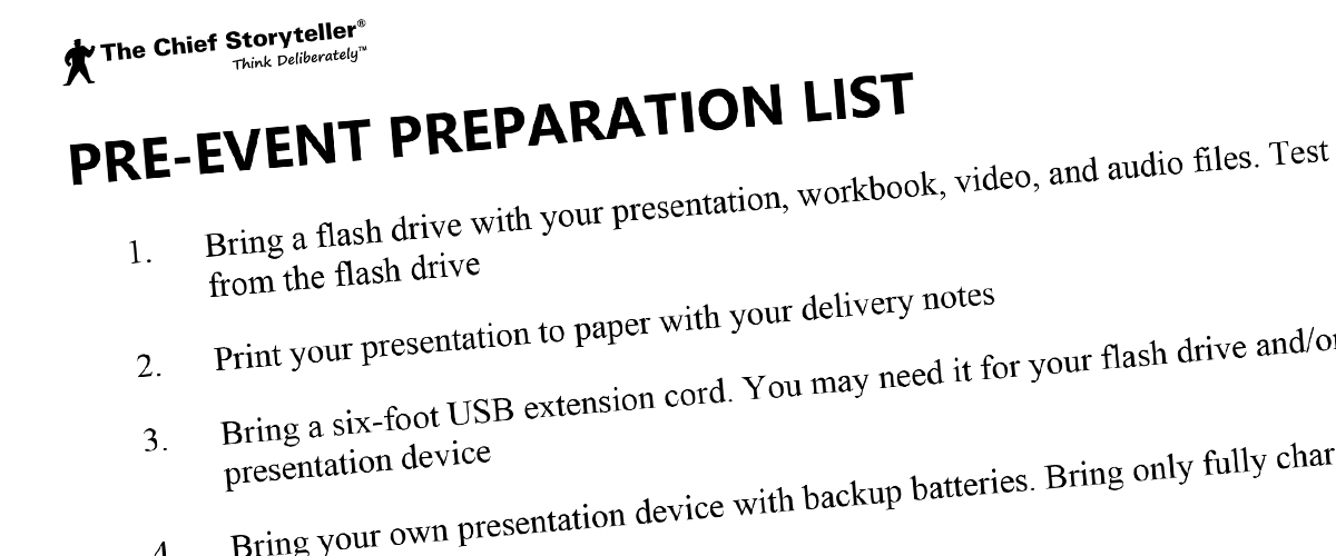pre-event preparation list for your big presentation, part 1 of 2