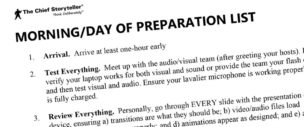 pre-event preparation list for your big presentation, part 2 of 2
