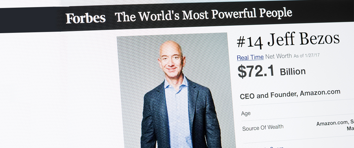 screen shot of Forbes World's Most Powerful People - Jeff Bezos, CEO, Amazon Ranked #14