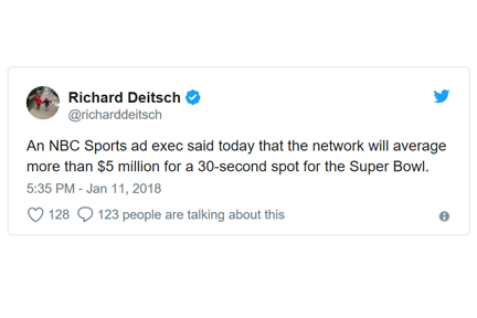 best superbowl commercials 2018 - tweet stating 30 second commercial costs $5 million