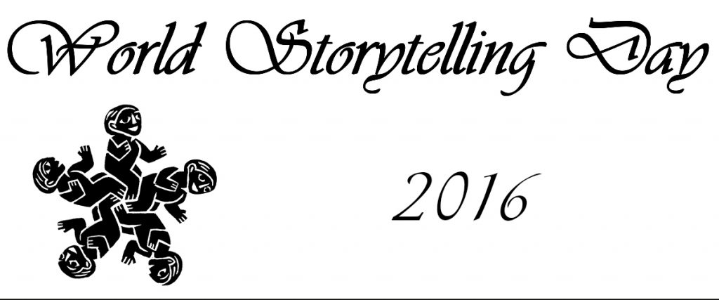 white background, black text World Storytelling Day 2016 with the world storytelling official logo