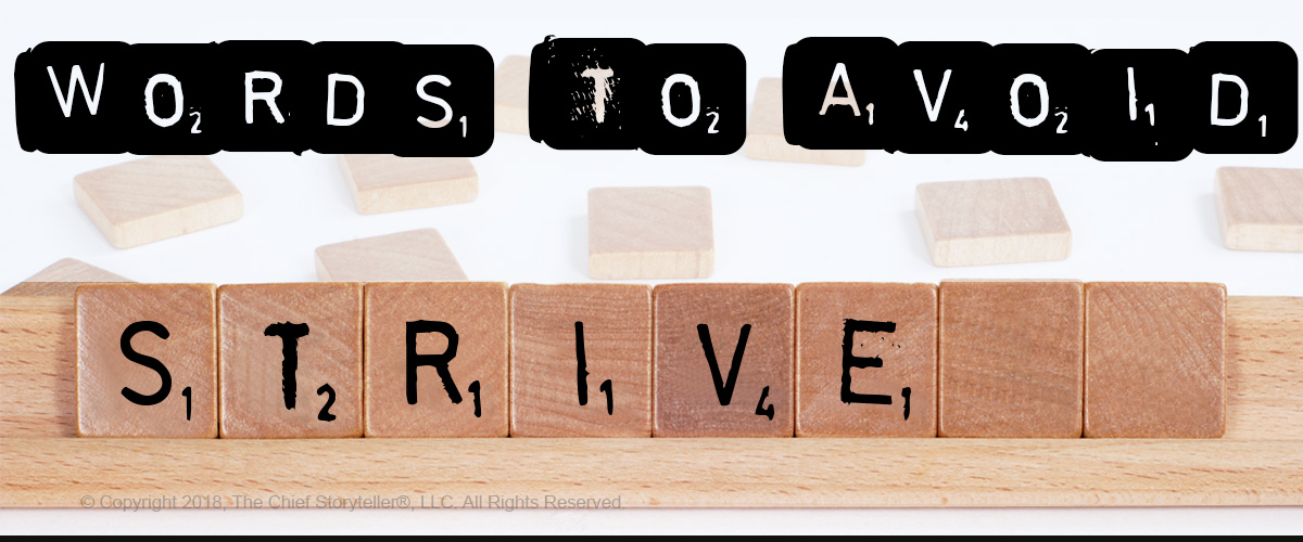 scrabble letters as the font with the title as words to avoid and overlayed on wooden titles, the word strive