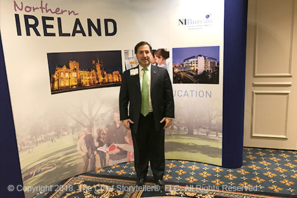 st patrick's day 2018 with Northern Ireland Bureau, Invest Northern Ireland, Tourism Ireland - Ira Koretsky standing in front of the Northern Ireland sign