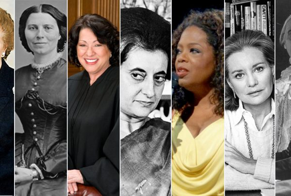 international women's day - collage of the nine women whom are quoted - tight vertical columns with each of the faces used in the photograph boxes
