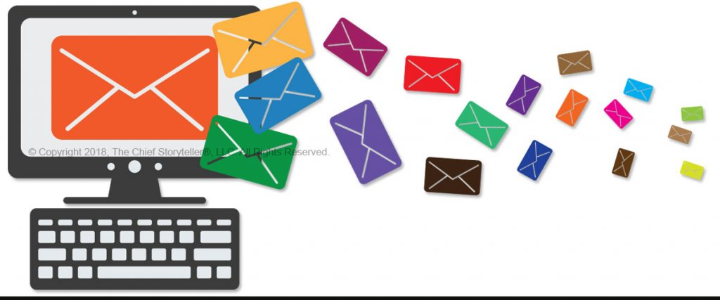 email campaign with icon art of computer screen sending emails as envelopes in many colors, from large to very small to demonstrate the concept of personalizing your email campaign