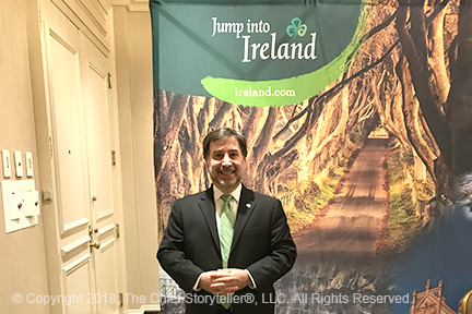 st patrick's day 2018 with Northern Ireland Bureau, Invest Northern Ireland, Tourism Ireland - Ira Koretsky standing in front of the Tourism Ireland booth