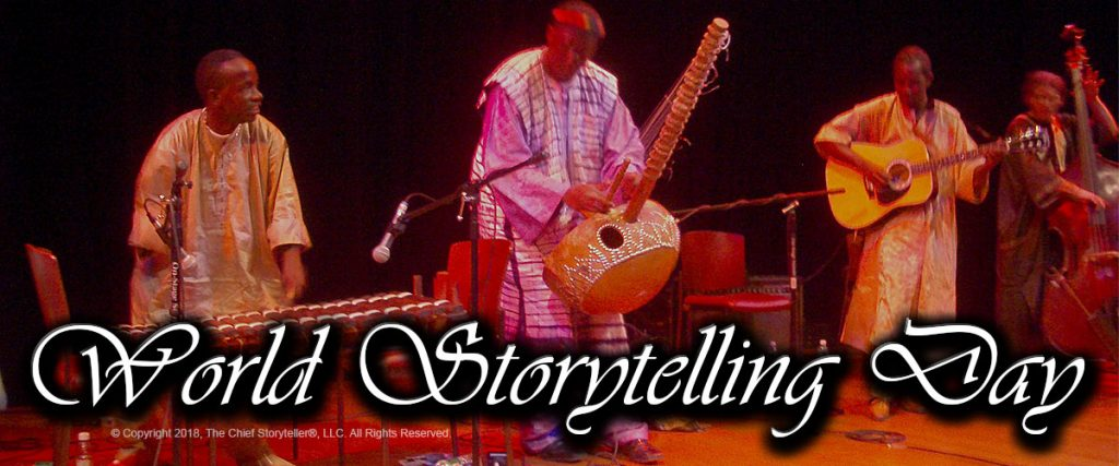 World Storytelling Day 2018 with African griots (storytellers/musicians) on stage