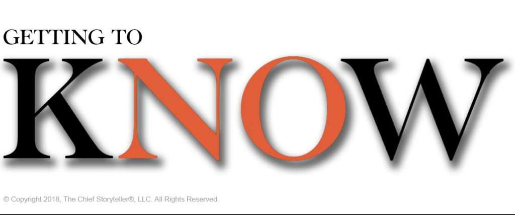 large text, K-N-O-W with K and W black, NO in orange to highlight that to get to no, you have to Know first