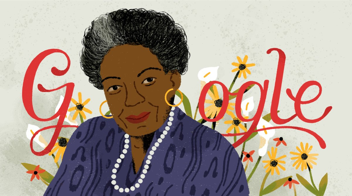 google-created doodle in honor of Dr. Maya Angelou's 90th Birthday