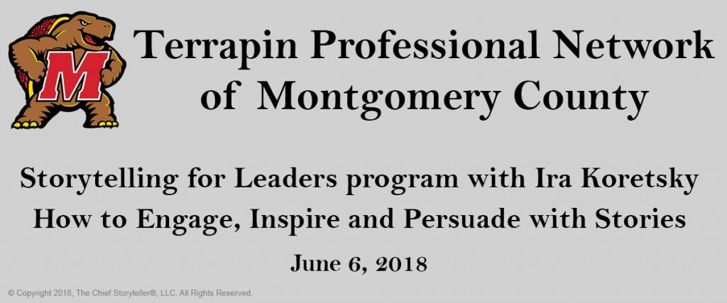 "event announcement for storytelling for leaders program with the terrapin professional network, large university of maryland terrapin symbol with a big red ""m"""