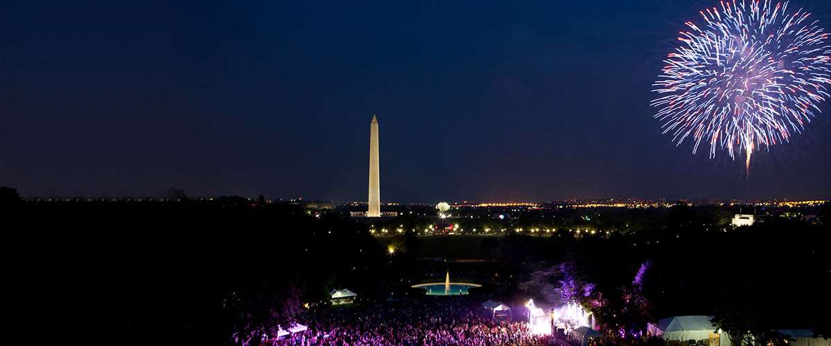 happy july 4th looking down at the us capitol grounds at night with fireworks display in the perfect blue night sky