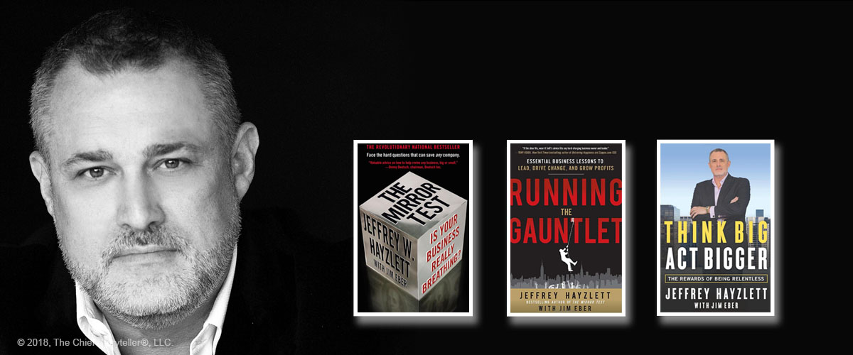 headshot, black and white of Jeffrey Hayzlett, three book covers including Think Big, Act Bigger