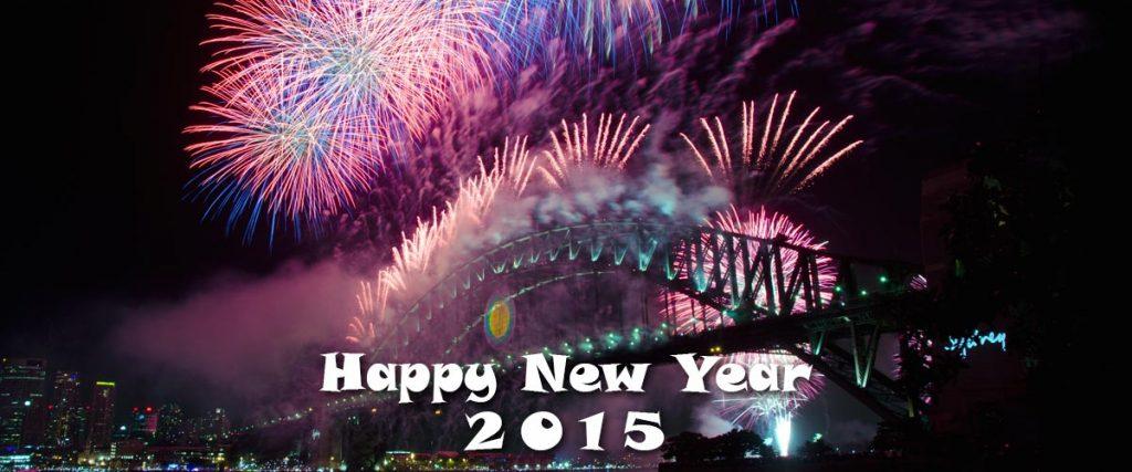 happy new year 2015 - fireworks over Sydney Harbour Bridge