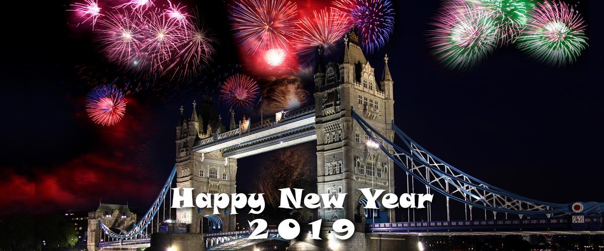 happy new year 2019 - fireworks over London Bridge