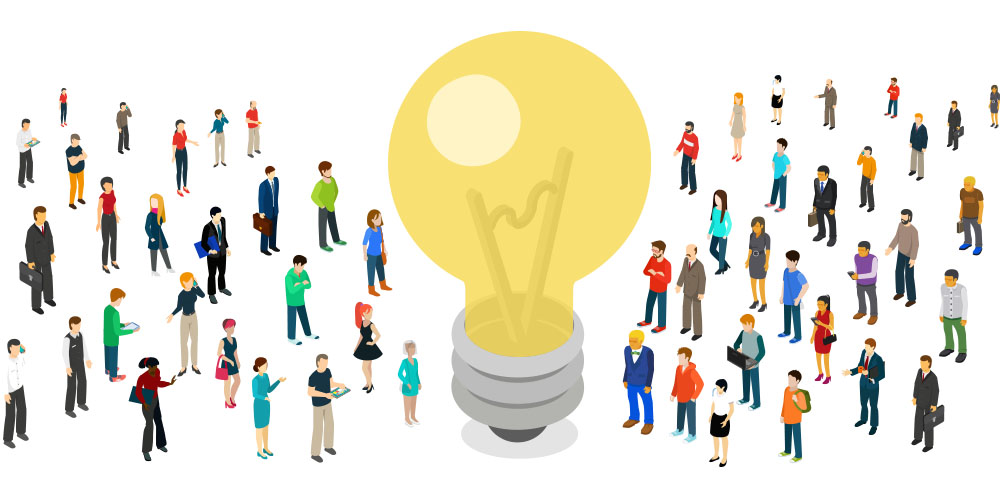 business professionals and executives drawn to your idea, your idea lightbulb for your presentation for conference, workshop, storytelling with data, all-hands meeting, townhall