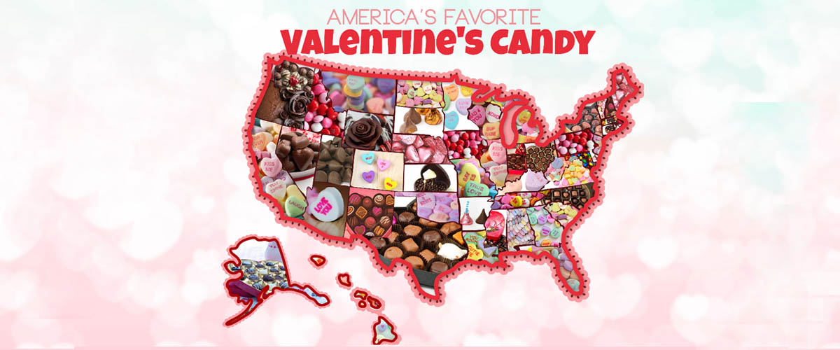 valentines day holiday map for candy consumption in the united states