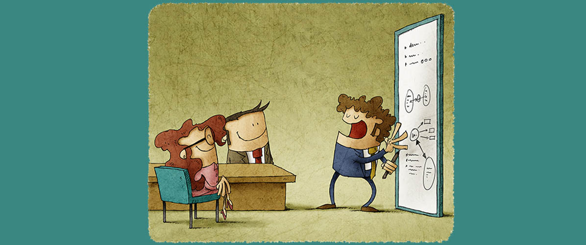 cartoon of three executives doing data visualization, sharing a funny quote about statistics