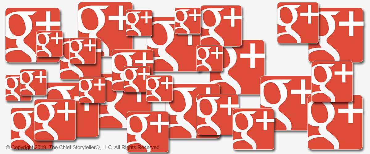 Google Plus logos in different sizes fill the picture - Google Closing