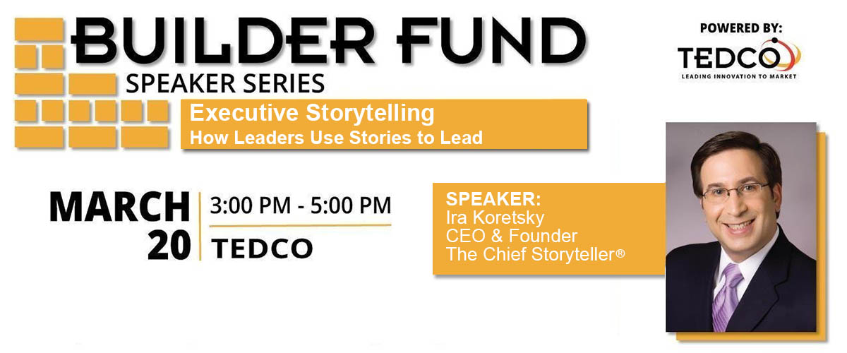 banner header announcing ira koretsky's storytelling for leaders workshop with TEDCO