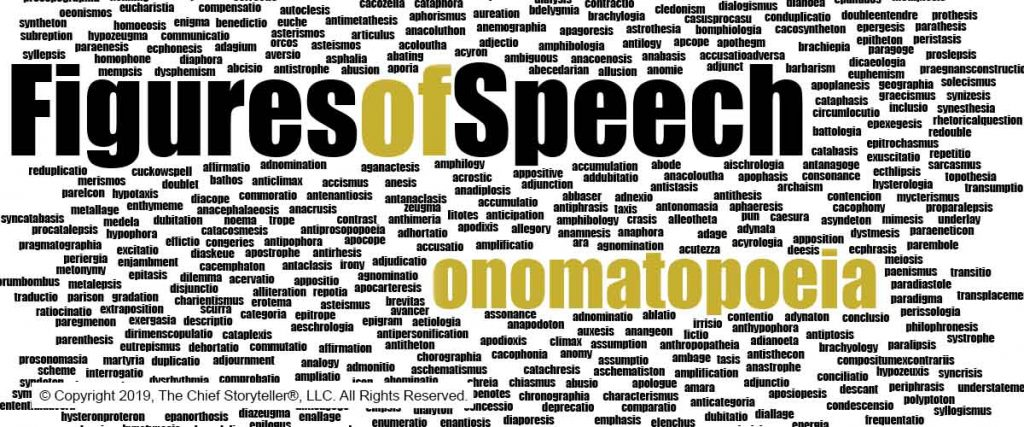 word cloud or message cloud of over 300 figures of speech highlighting onomatopoeai