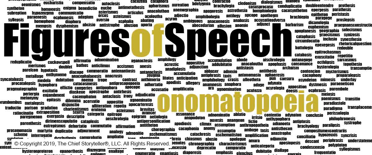 word cloud of over 500 figures of speech with onomatopoeia very large