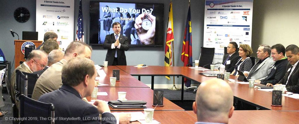 Ira Koretsky leading an Elevator Pitch Workshop, in conference room, full of executives at the Montgomery County Chamber of Commerce