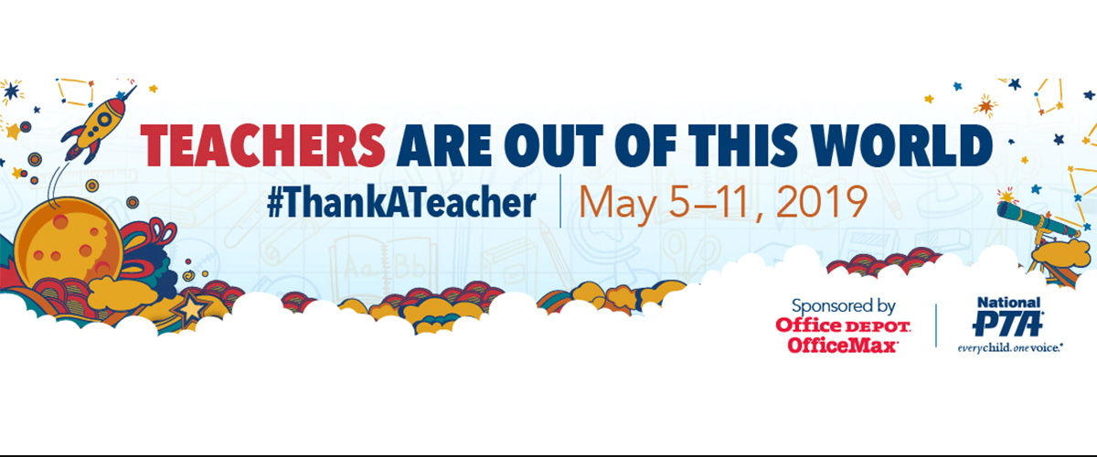 happy teacher appreciation week with fun icons and celebratory rockets and fireworks for national teacher appreciation week 2019
