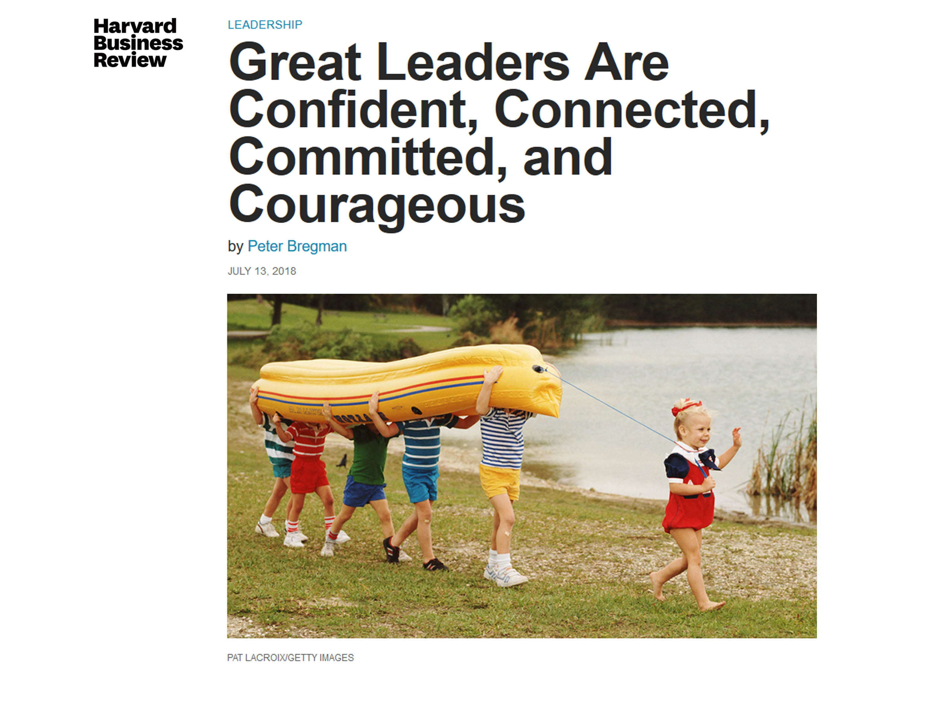 screen shot of HBR's article title illustrating alliteration with 4C's Confident, Connected, Committed, Courageous